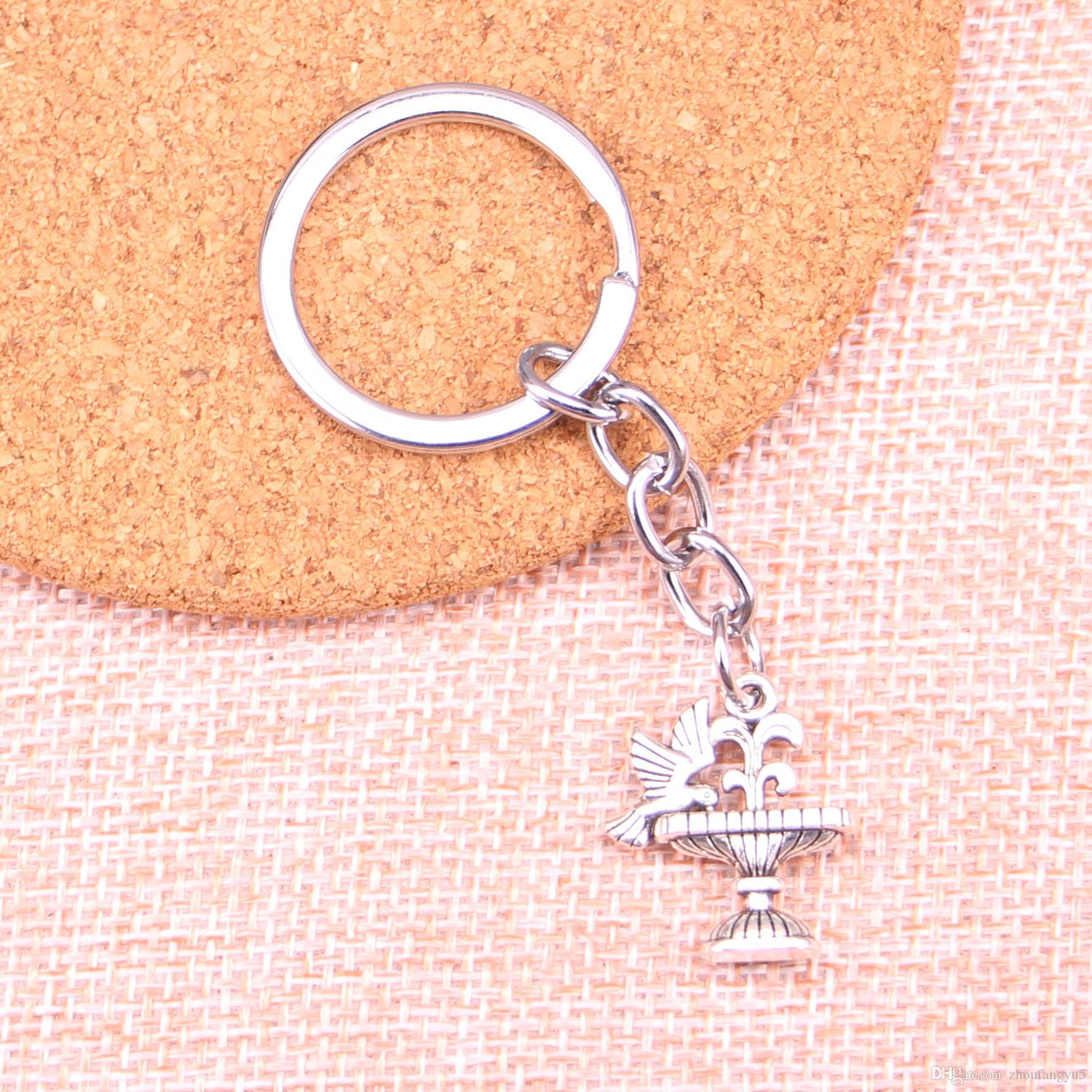 Новый брелок 21 * 17мм партер птица питьевой Подвески DIY Мужчины автомобилей Key Chain Кольцо держатель брелок Сувенирная подарка ювелирных изделий