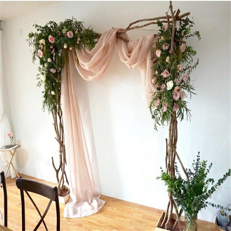 10*1.5M Solid Color Terylene Fabric Wedding Decor Arch Draping Fabric Voile Arbor Drapes for Wedding Supplies Ceremony Party Curtains