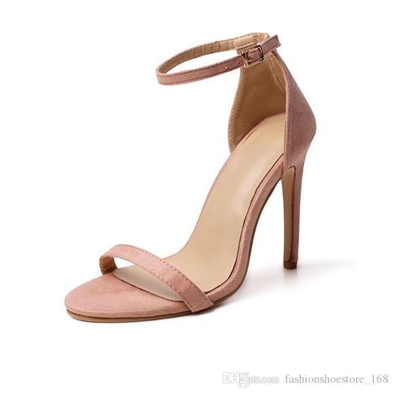 Women Summer Sandals Nude/Silver/Black High Heels Sandals Strap Buckle Stiletto Wedding Heels Shoes Woman 11CM Stylish Sandals Size 42