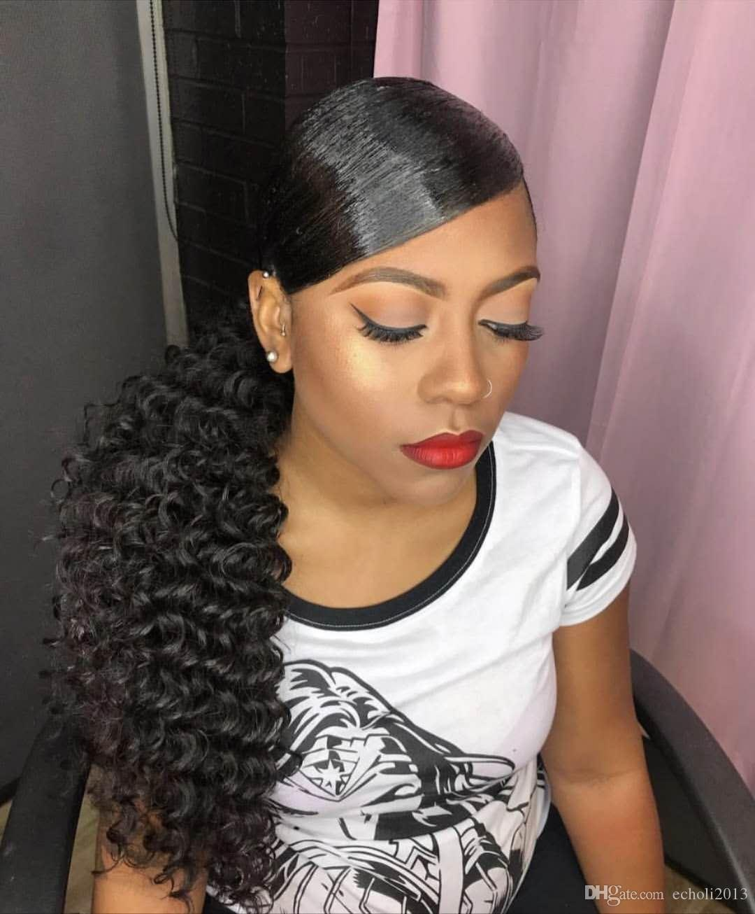 Fashion Curly Ponytail Hairstyle Deep Wave Drawstring Ponytail Hairpiece 100g 160g Clip In Brazilian Hair Ponytail Extension 1b Natural Blac Cute