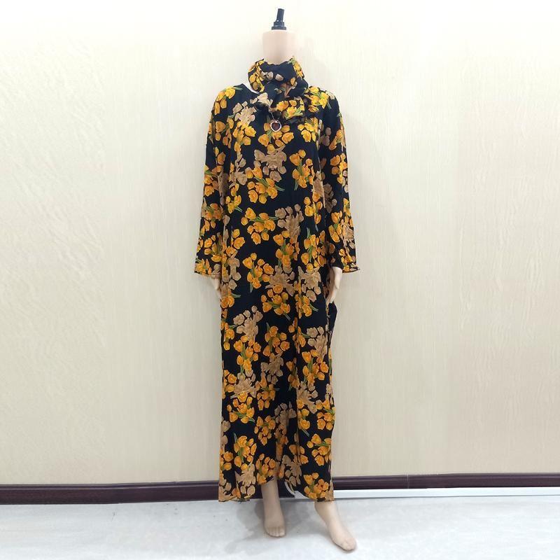 Dashikiage naranja 100% algodón Tulip ocasional de la impresión de la manga larga del O-Cuello dashiki vestidos africanos 180cm * 120cm de la bufanda