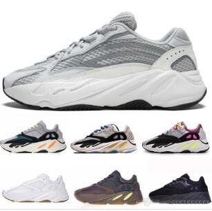 Kanye West 700 Wave Runner zapatos para correr para hombre para mujer 700s V2 Static Sports Sneakers Malva Gris Sólido Diseñador de Lujo Zapatos Tamaño 36-45