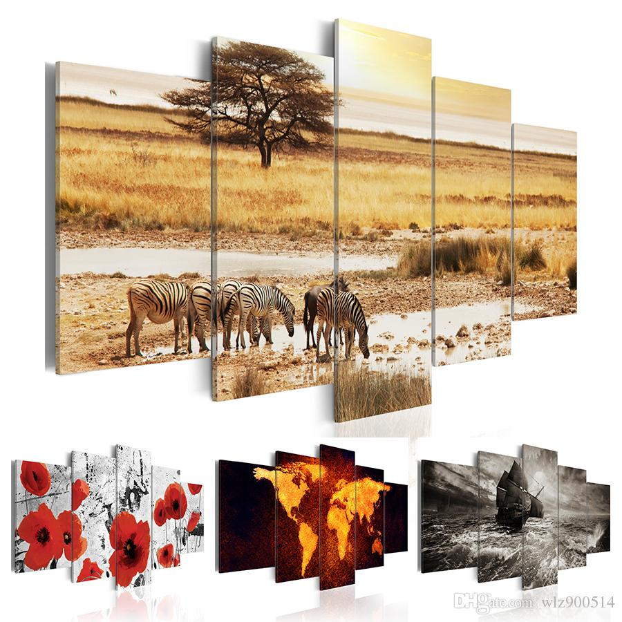 African Animal Zebra Poppy Flower Sailboat World Map 5pcs Canvas Painting Modern Abstract Wall Art Decor Oil Picture on Canvas for Home Livi