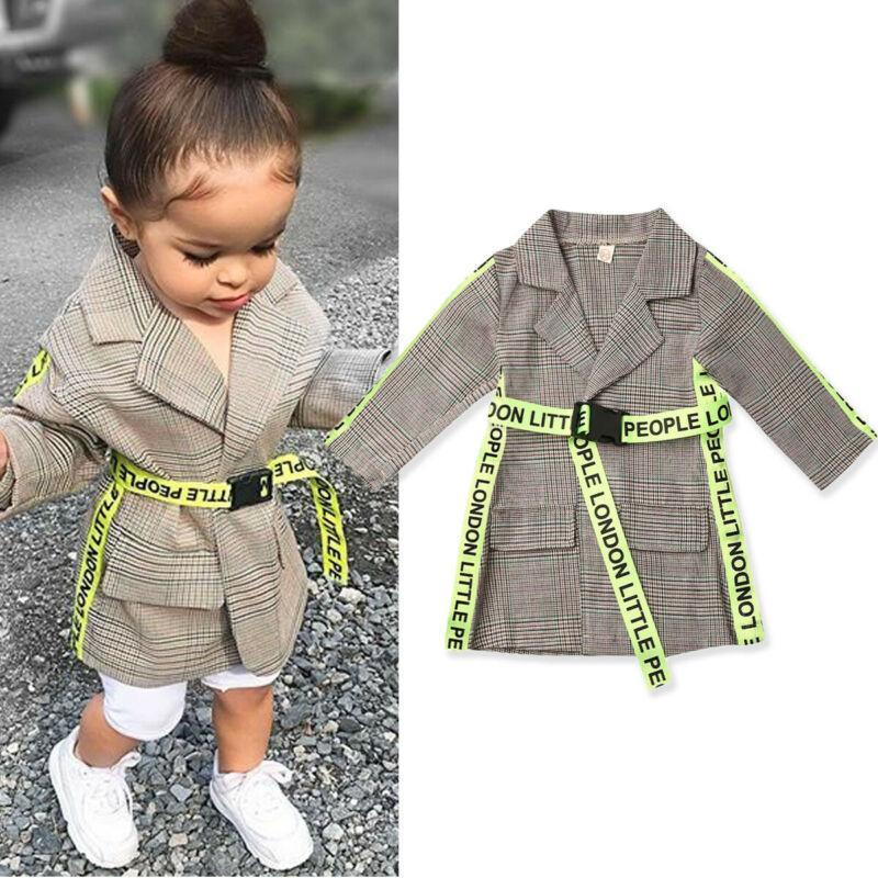 ropa de los niños al aire libre de la muchacha nueva capa de la muchacha niño niño pequeño bebé formal de la correa larga de la chaqueta caliente del otoño y el invierno
