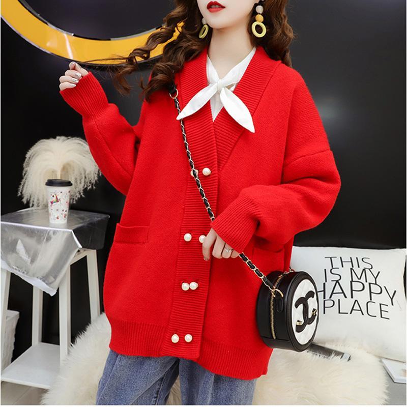 Süßigkeiten Farbe lange Strickjacke Cardigan Tops weiblich 2020 Frühling-Frauen des neuen koreanische Einreiher lose große Größe Strick Jacken-Mantel-Tops