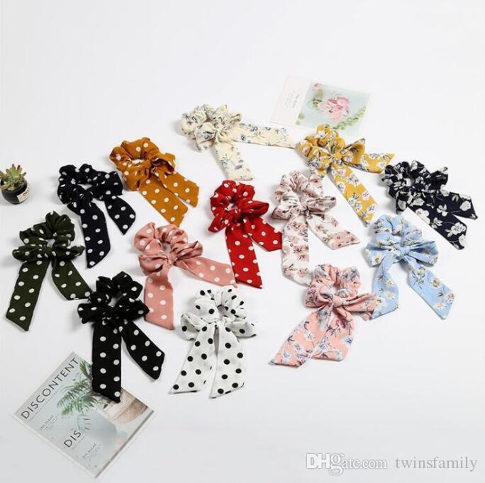 Dot Stirnband Weinlese-Mädchen-Blumen-Haar-Band Scrunchy Bogen Hairbande Riegel-Pferdeschwanz-Halter-Gummiseil-Band-lange Bogen-Haar-Zusätze DYP950
