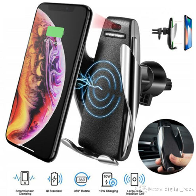 QI Wireless Car Charger S5 For Iphone Charger Samsung With Auto Sensor 10W Fast Charging Air Vent Mount Holder Phone Charger Retail Box