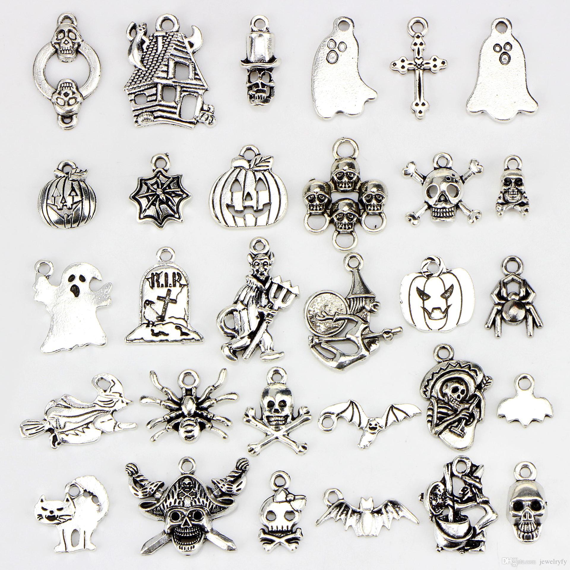 혼합 30 디자인 해골 박쥐 뼈대 거미 유령 호박 랜턴 마법사 고양이 할로윈 펜던트의 매력 DIY 목걸이 팔찌 쥬얼리 액세서리