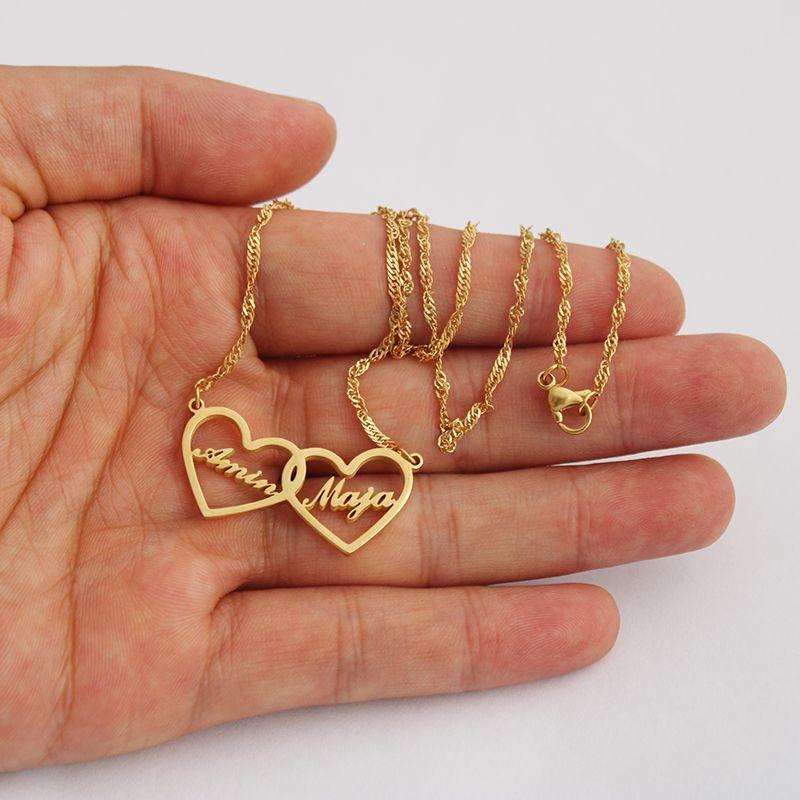 MotherDaughter Kişiselleştirilmiş Takı kızı gerdanlık Altın Gümüş Kolye Bijoux BFF Hediyesi İçin İki Kalpler Özel Adları kolye