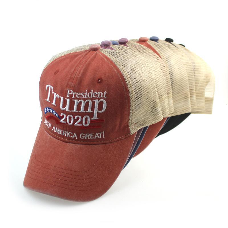 Faça América Great Again chapéu ajustável Snapback 2020 Donald Trump Hats Bordados Patchwork Lavados Malha Caps Men Sports Baseball Cap M978F