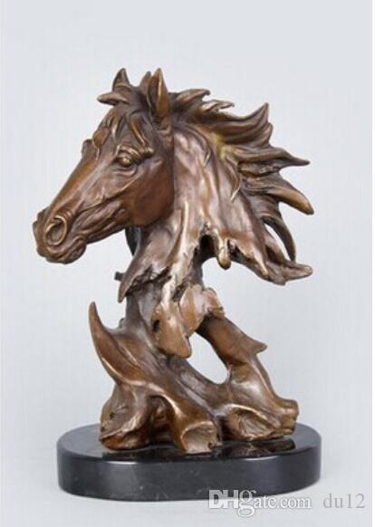 Arts Artisanat Cuivre Puissant sculpture de cheval Haute Qualité En Laiton Sculptures Animal Buste Tête De Cheval Statue BRASS Chevaux Figurine