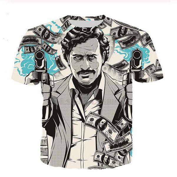 Neueste Art und Weise der Männer / Womans Narcos Pablo Escobar Narcos Sommer-Art-T-Shirts 3D-lässig T-Shirt Tops Print Plus Size MH011