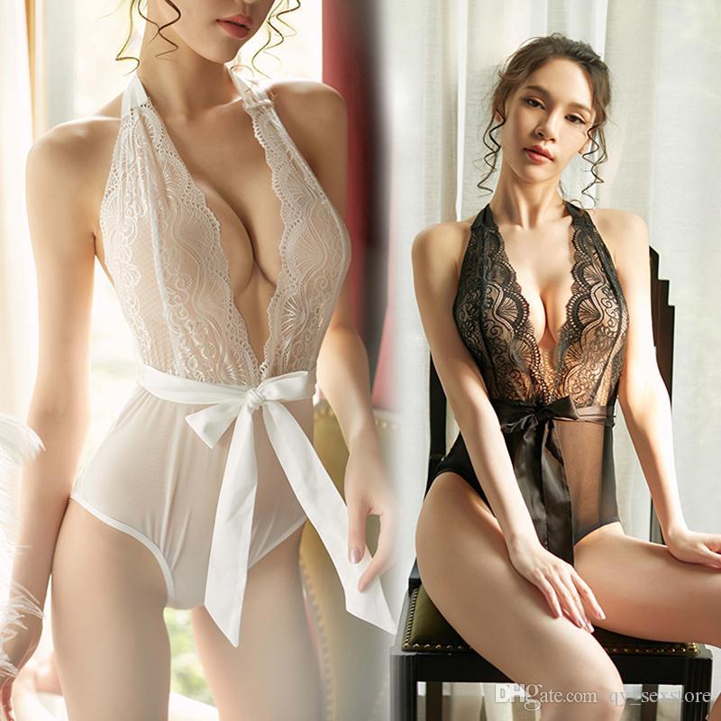 Nuovo Design Sexy Lingerie Sleepwear Lace Satin Sling Camicia da notte Chemise Dress Nightwear Set sexy per la signora