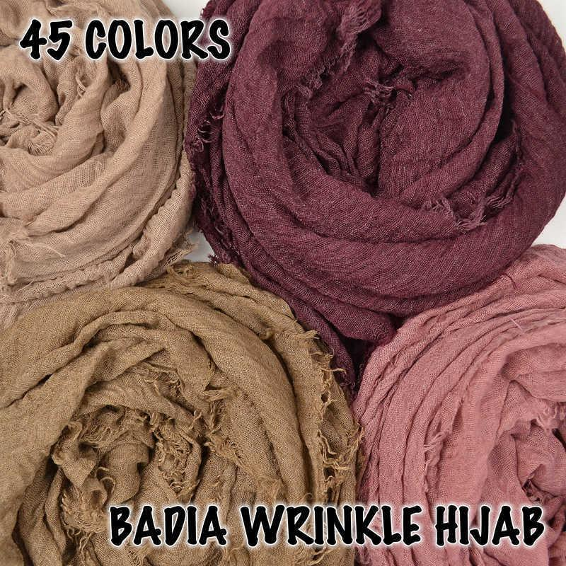 10pcs/lot women crinkle solid hijabs scarf oversize islam shawl head wraps soft long muslim frayed wrinkle cotton plain hijab Y191015