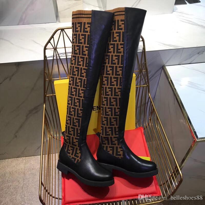 2020 السيدات باريس الجوارب أزياء الركبة الأحذية الأحذية أزياء ثلاثية الصفراء السوبر السيدات نجم الفخذ أحذية عالية عارضة مربع الدانتيل