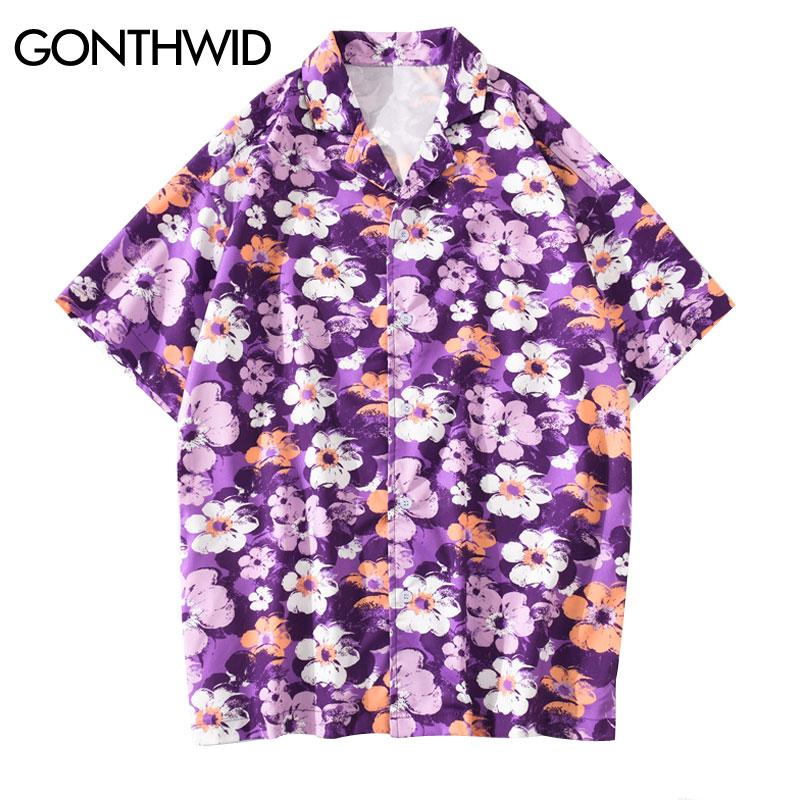 GONTHWID أزهار الكرز الزهور طبع قمصان هاواي المتناثرة عارضة قصيرة الأكمام قميص رجالي الزهور كامب الاستوائية بلايز الأرجواني