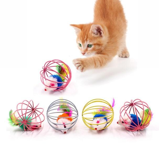 Cat Interactive Toy Scratch Ball Simulated Mouse Rat Mice Cage Plastic Artificial Colorful Kitten Teaser Pet Animal Supplies