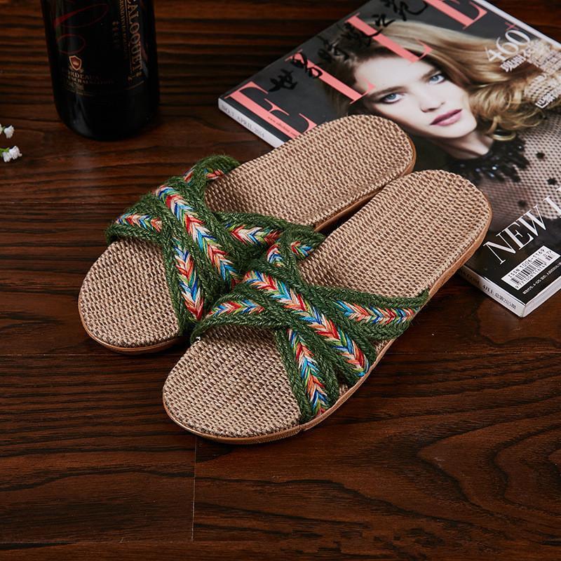 Tirón de interior, más atado a la Cruz las mujeres del tamaño de lino zapatillas de color Flops Zapatos de suelo de los amantes de los deslizadores de Inicio únicas sandalias