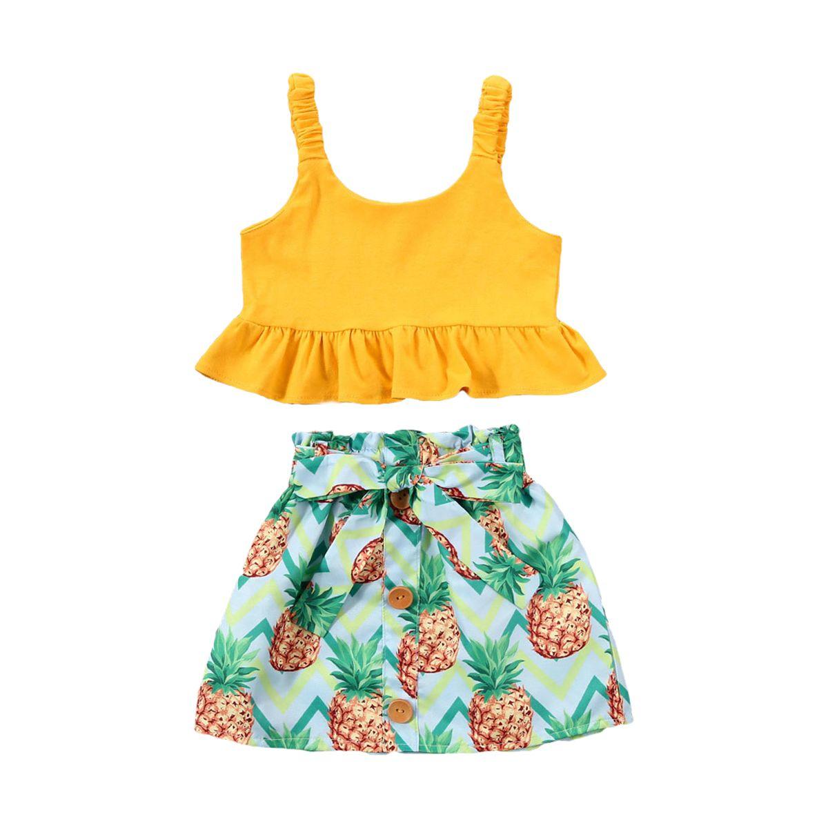 Летняя Сладкие малыши Детские Baby Girl Одежда наборы рукавов Желтой кнопка Top Ананас Юбка Outfit Set