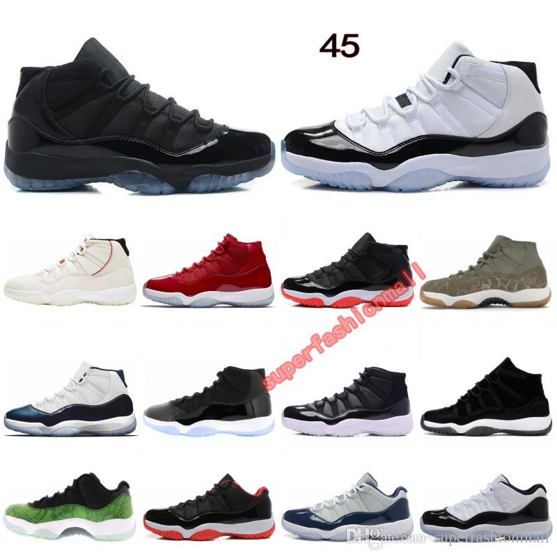11 Basketball Shoes Concord 45 Platinum Tint Cap and Gown Space Jam Win Like 96 stylist Shoes Men Women Sports Sneakers Size 36-47