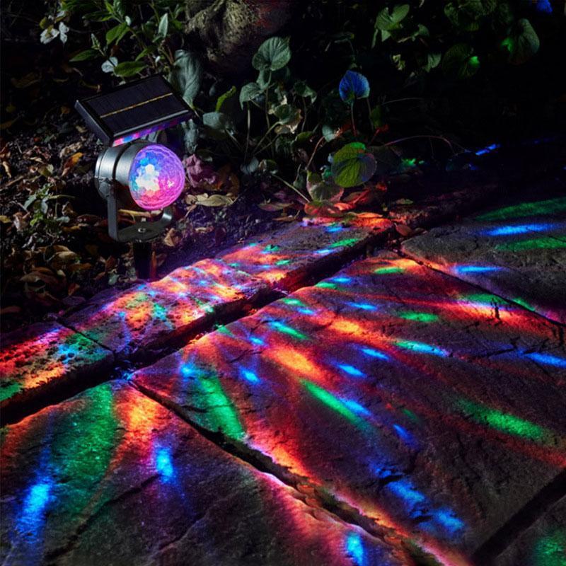 Brelong 태양 야외 빛, 회전 공 더블 led 정원 빛, 풍경 통로 장식 투사 램프 축제 조명