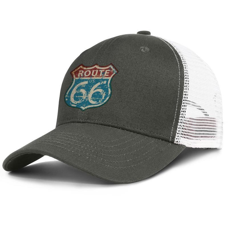 Vintage route sixty six road sign burgundy mens and womens trucker cap baseball design custom blank hats