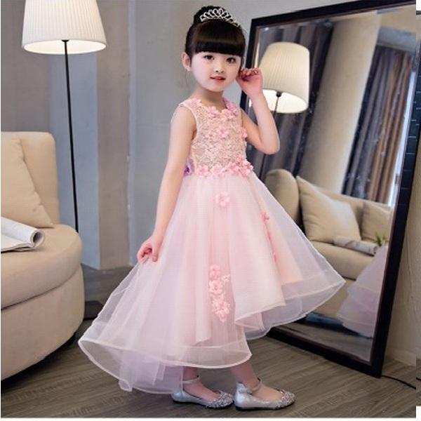 Pink Princess Flower Girl Dresses Lace Tulle Applique Girl Party Kids Wedding Bridesmaid Children Pageant Dress Ball Gown SMT111