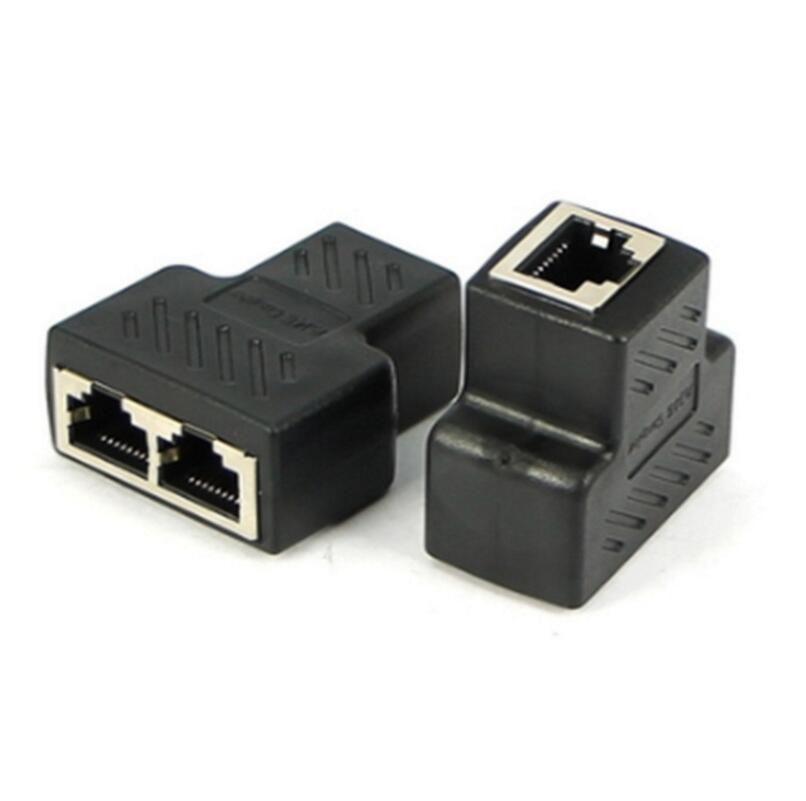 Hohe Qualität New 1 bis 2 Ways RJ45 LAN Ethernet-Netzwerkkabel Buchse Splitter-Stecker-Adapter 75