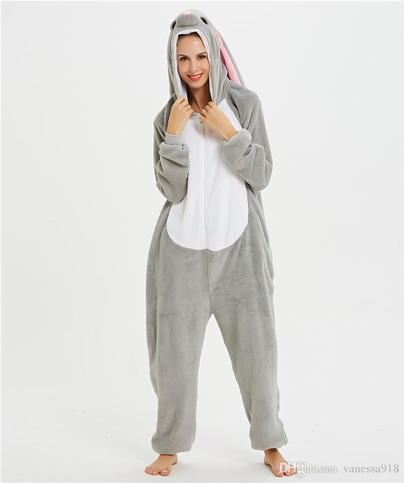 Adult Animal Pajamas Women Mashimaro Rabbit Sleepwear Onesie Pyjama Cartoon Overalls Winter Night Jumpsuit Cosplay Costumes MX-131