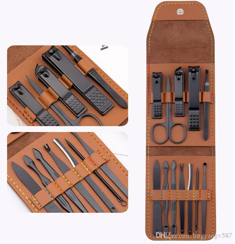 DHL 12 em 1 corta-unhas conjunto de Manicura Pedicura Mulheres ferramentas profissionais de Corte De Unhas De Aço Inoxidável Ferramentas de tratamento de unhas com PU case nw