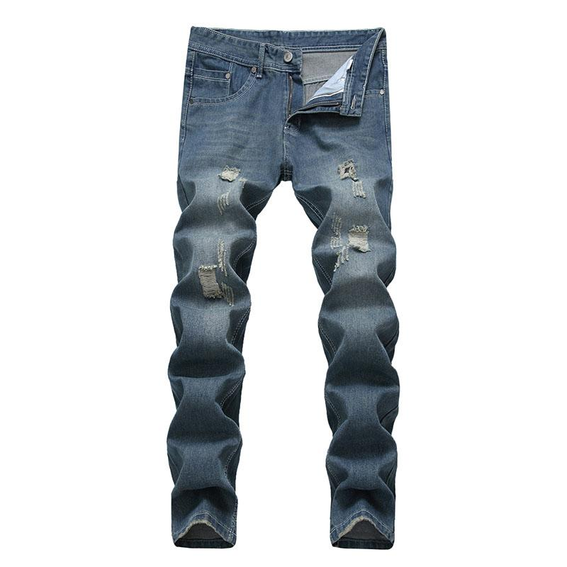 Men Casual jeans denim Vintage Classical Bleached Ripped jeans Pencil pants Elastic Vintage Mid Waist high quality Free Shipping