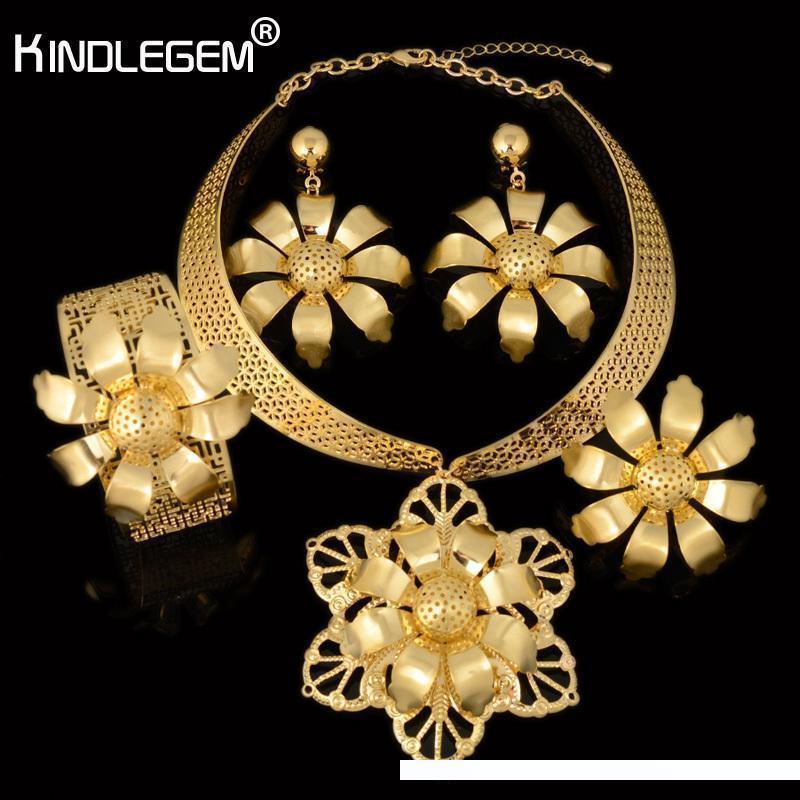 Kindlegem Unusual Flower Large Necklace Pendant Earring Bracelet Ring Fashion Gold Color Women Party Wedding African Jewelry Set C18122701