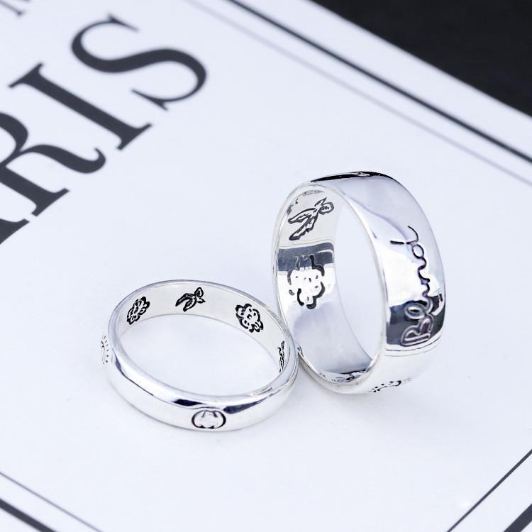 Aşk Yüzük Korkusuz Aşk Eyes ve Kuşlar için Kör 925 Gümüş Avrupa ve Amerikan Trendler Erkek ve Kadın Çiftler Vintage Yüzükler