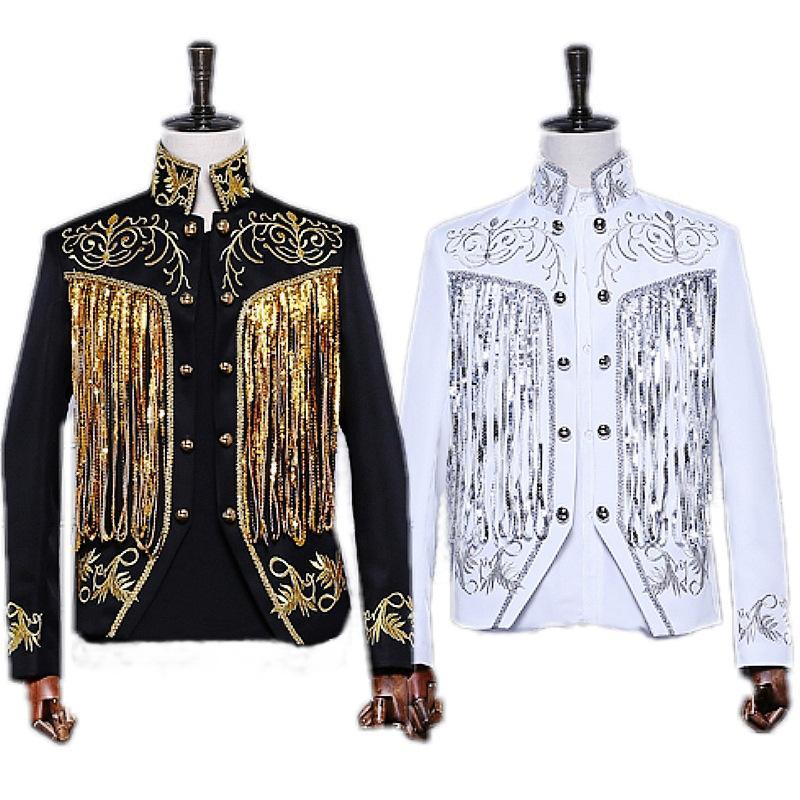 Capa de estilo británico Prince Blazer Chaqueta blanca negra Show de espectáculos Novio de boda Chaqueta de traje slim fit Cantantes Escudo