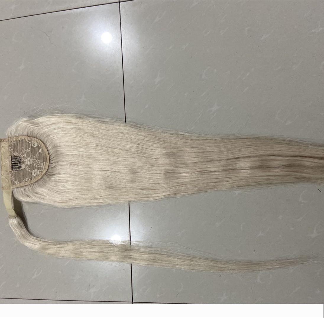 Отбеленный белый блондин обертывания бразильские волосы конский хвост волос кусок 1шт 24 дюйма длинный гладкий прямой конский хвост волос кусок цвет 60