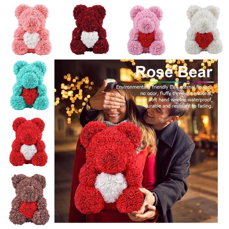 الحفاظ على الزهور الحيوانية روز الدب الصابون مفاجأة زهور اصطناعية رومانسية عيد الحب هدية لطيف
