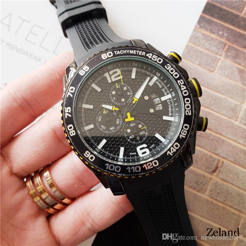 남성 PRS 516의 모든 다이얼 작업 디자이너 시계 실리콘 스트랩 일본 석영 운동 크로노 그래프 시계 t079 럭셔리 스위스 브랜드 남성 시계