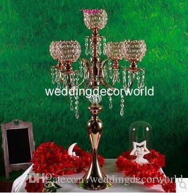 Novo estilo Alto 5arms candelabro de mesa candelabro de ouro de cristal de suspensão à venda decor01036