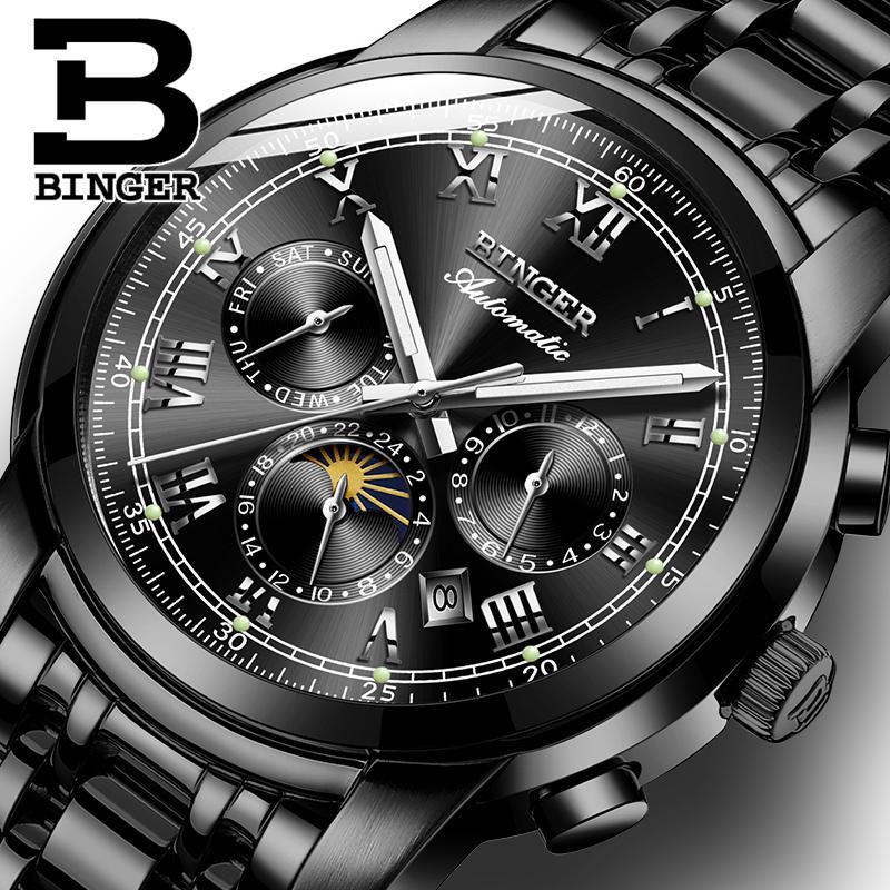 Suíça Mecânico Automático Assistir Os Homens Binger Masculino Relógio Sapphire Relógios de pulso relogio Waterproof Masculino 9