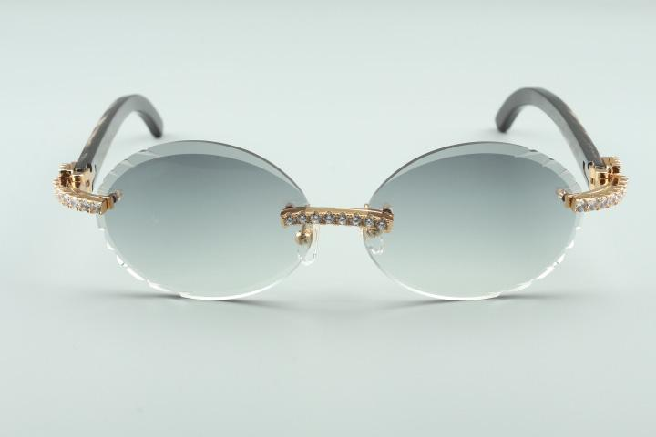 Güneş gözlüğü, Boyutu: Siyah 58-18-140mm Elmas Lensler Kesme T3524016-9 Textrued Buffalo Horn Yeni Retro Oval Gözlük, Doğal Bacaklar Nxbej