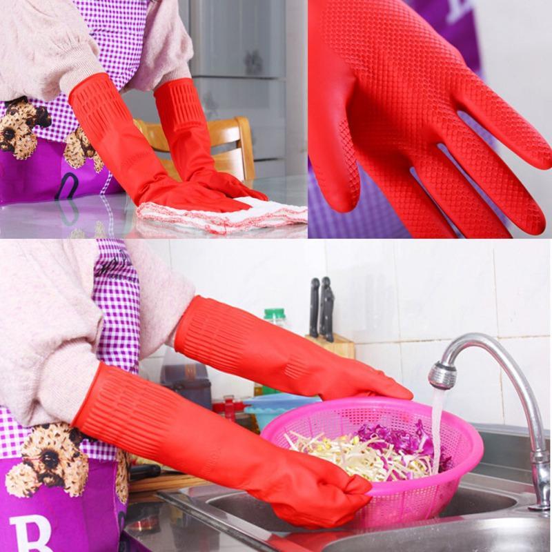 Lady Esnek Rahat Kauçuk Temiz Eldivenler kırmızı Bulaşık Yıkama Uzun Eldiven Sıcak Satış