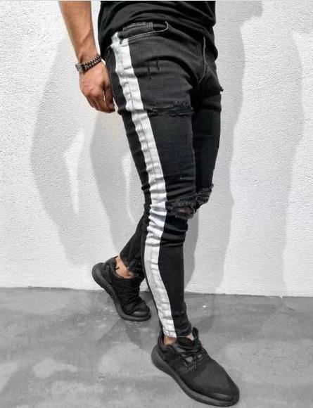 Männer Designer Slim Fit zerrissene Jeans-Fashion High Street Style-Hosen-beiläufige Knie-Holes weiße gestreifte Schwarze Jeans