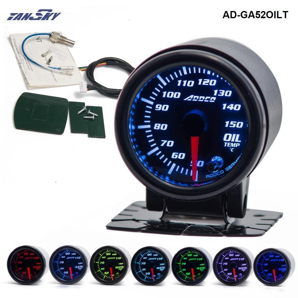 "TANSKY - 2""/52mm 7 Color LED Car Oil Temp Meter Gauge Smoke Lens Pointer Universal Car Meter AD-GA52OILT"