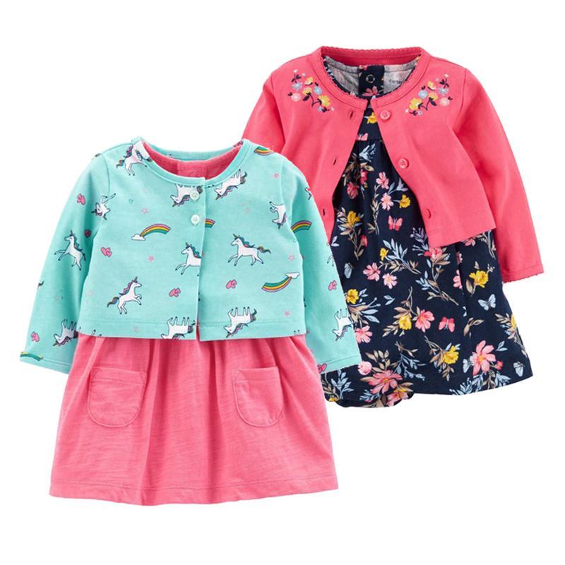 2 Pieces Set 2019 New Baby Girls Flower Dresses Cotton Jumpsuits Girls Fashion Spring Autumn Clothes Newborn Baby Girl Roupa J190521