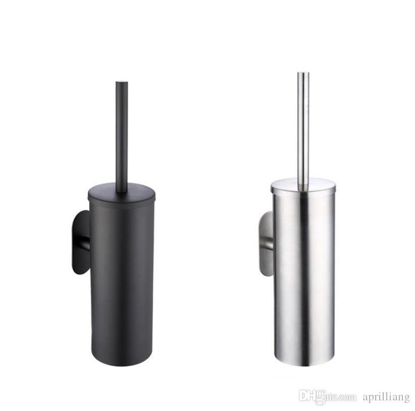 Free Nail WC Toilet Brush Cup Set Holder Bathroom Bath Accessories Lavatory Cleaning Tool Washroom Stainless Steel Black or Brushed Nickel