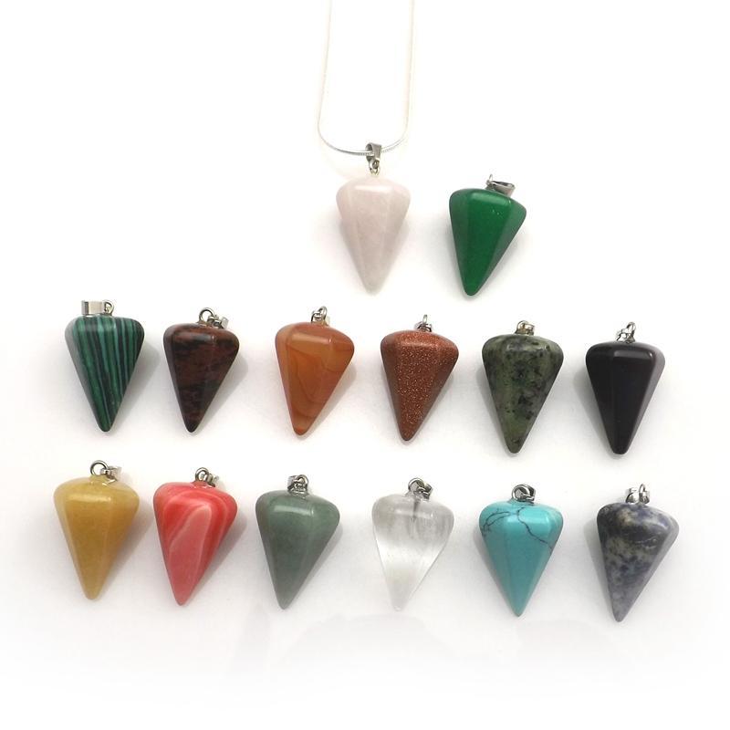 Mixed Lot Natural Stone Pyramid Shape Pendant Silver Color Chokers For Women 12pcs/lot
