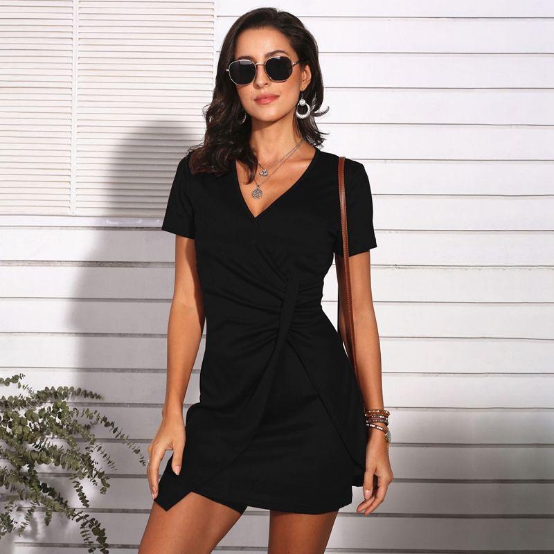 Kadınlar V yaka Kısa Kollu Pileli BODYCON Elbise