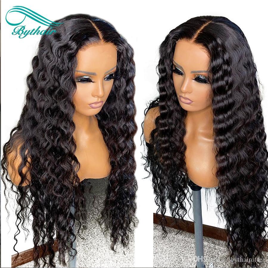 Bashthair Courly Full Spitze Menschenhaarperücken mit Babyhaaren vorgepftet Natürliche Haarlinie Naturwelle Spitze Front Perücke gebleichte Knoten