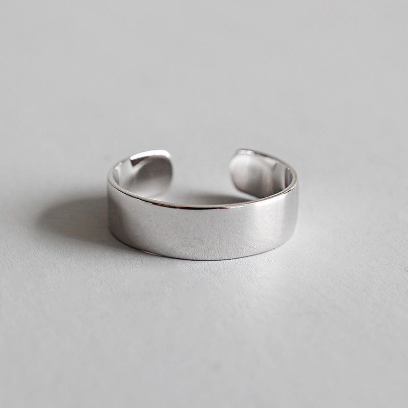 Hfyk 925 فضة الطوق جولة بسيطة واسعة خواتم للنساء خواتم زوجين باجي فام الفضة 925 مجوهرات anelli ringen aneis