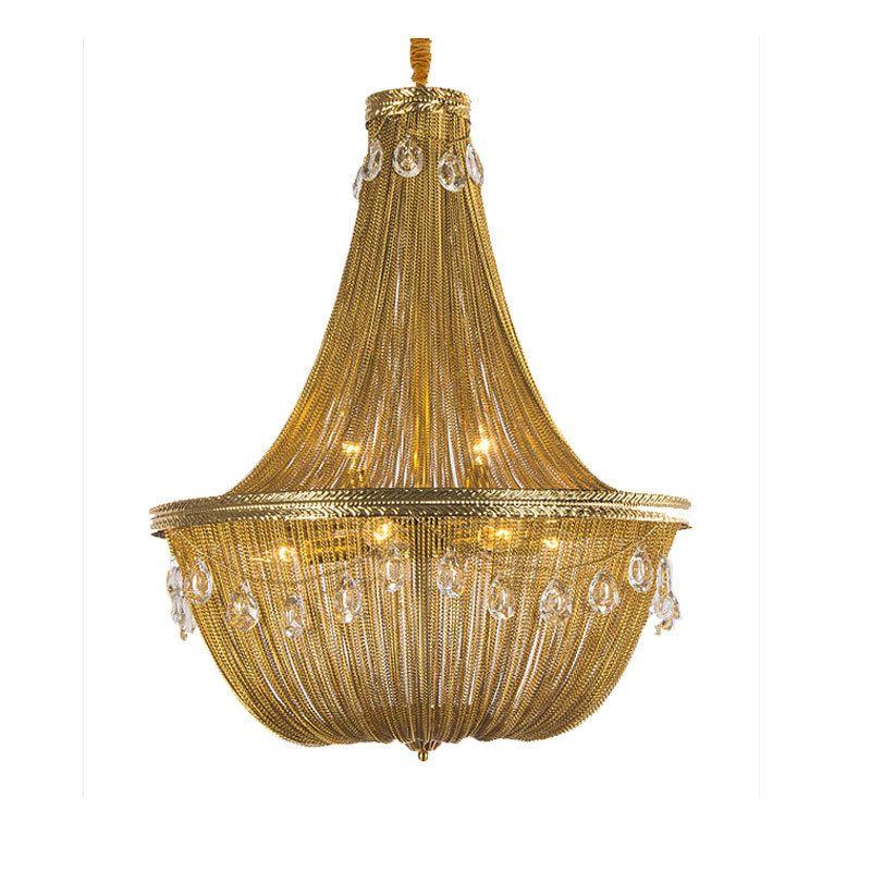 Luxury Gold Tassel Led E14 Pendant Lights D60cm K9 Crystal Lustre Led Suspend Lamp Living Room Adjustable Hanging Lamp Fixtures UPS